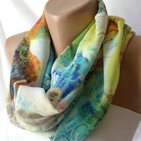 Watercolor  Infinity Scarf loop  handmade from coton linen