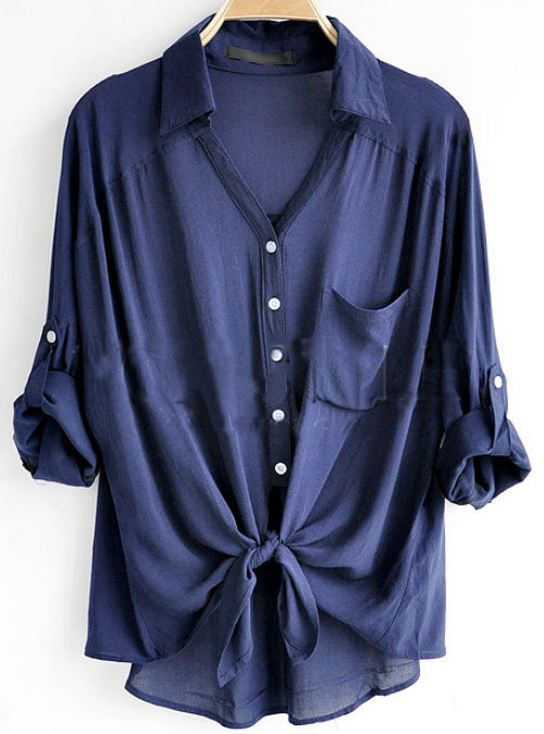 Navy Revere Collar Three Quarter Length Sleeve Pocket Shirt - Sheinside.com