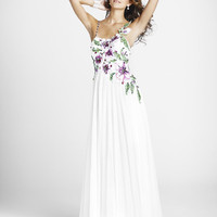 SALE! PEARL by BLUSH 2011 Prom Dresses ** White Floral Embriodered Flowing Prom Gown - Sz. 0 to 10 - Unique Vintage - Bridesmaid &amp; Wedding Dresses
