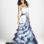 SALE!! PEARL by BLUSH 2011 Prom Dresses ** Sky Blue &amp; Amethyst Charmeuse &amp; Organza Ruffle Prom Dress - Sz. 0 to 10 - Unique Vintage - Bridesmaid &amp; Wedding Dresses