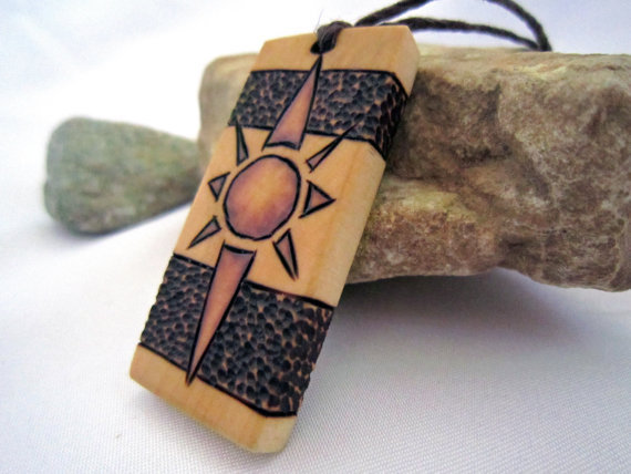 Organic Necklace Sun - Natural Wood Pendant Mens / Womens