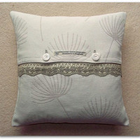 John Lewis Corey linen cushion / pillow cover with lace trim and button fastening 40cm