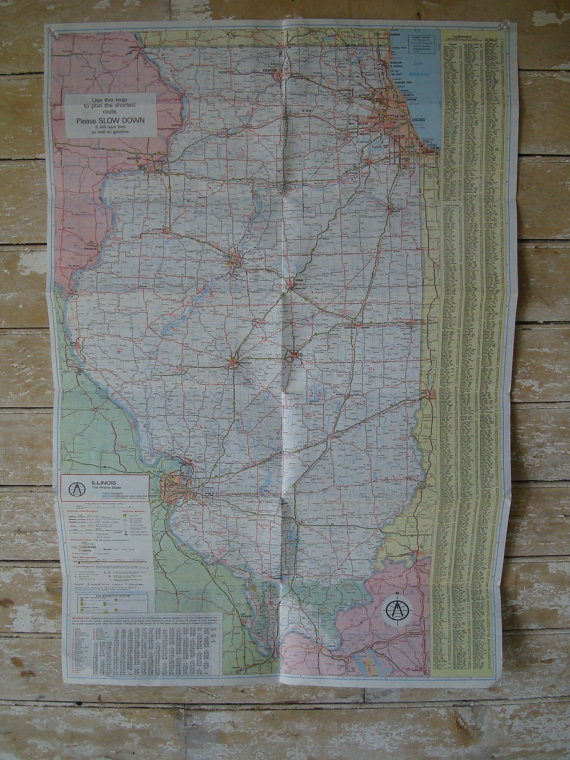 Vintage United States Road Map Illinois Rand McNally 1980s