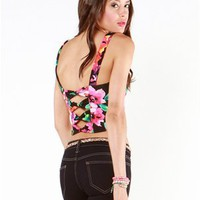 A'GACI Sweetheart Bow Back Floral Crop Top - New Arrivals