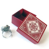 Tiny Red Gift Box with Scandinavian snowflake design on lid, Christmas wrap, eco friendly