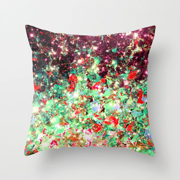 MISTLETOE NEBULA Colorful Festive Christmas Red Green Sparkle Galaxy Ombre Xmas Holidaze Abstract  Throw Pillow by EbiEmporium