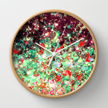 MISTLETOE NEBULA Colorful Festive Christmas Red Green Sparkle Galaxy Ombre Xmas Holidaze Abstract  Wall Clock by EbiEmporium