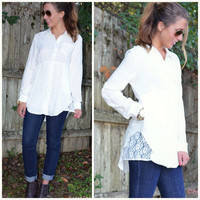 Aspen Angel Off White Lace Detail Tunic