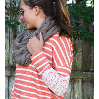 Last One Standing Coral Striped Top Lace Elbow