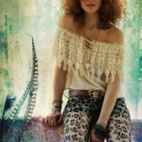 Stone Cold Fox Lace Curtain Top at Free People Clothing Boutique