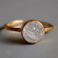 Druzy Ring - Round Shape - Stacking Ring