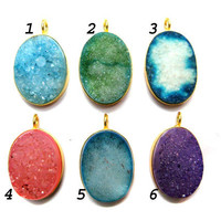 24 kt. Yellow Gold Plated Druzy Pendants , multi colour fine quality druzy gem stone Dangle Pendants