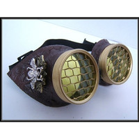 Hive Steampunk Goggles Pirate Eyewear Motorcycle- Yellow Colored Honeycomb Lens Large bee Burning Man