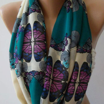 Dance of the Colors Collection / Butterfly Patterned - Infinity - Loop - Circle - Elegant / Feminine -- Summer - Shawl - Scarf