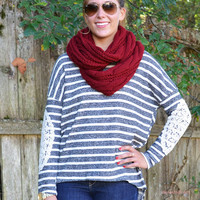 Last One Standing Charcoal Striped Top Lace Elbow