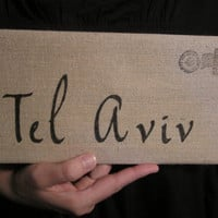 Tel Aviv Cotton Canvas Envelope Bag Handbag Purse