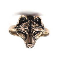 My Little Bronze Wolf Face Ring 251