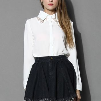 Sheer Lace Inserted White Shirt White S/M