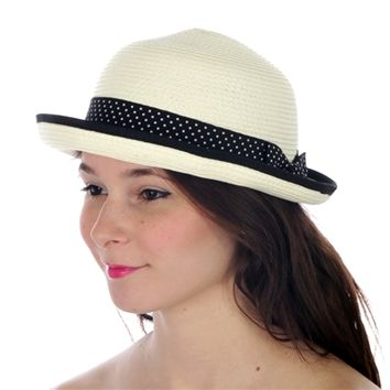 HauteChicWebstore Polka Dotted Short Brim Hat in Ivory - www.shophcw.com
