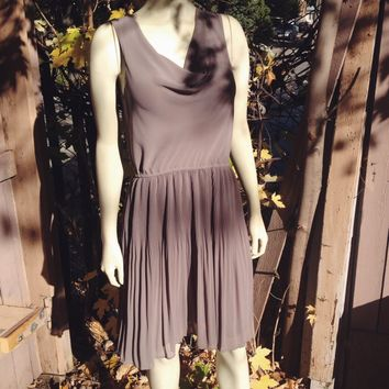 Taupe Pleated Dress / Levine's Boutique