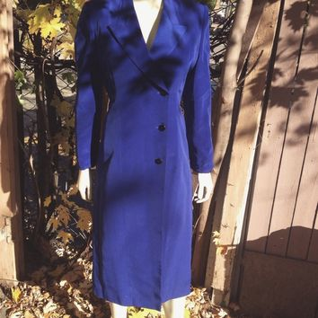 Michaelangelo Vintage Royal Blue Coat Dress / Levine's Boutique
