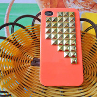 iPhone 4 4S hard Case Cover with golden pyramid stud For iPhone 4 Case, iPhone 4S Case, iPhone 4GS Case ,iPhone hand case cover  -057