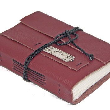 Burgundy Leather Journal with Love Bookmark - Ready to ship