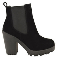 Women Mid High Block Heel Platform Chelsea Casual Ankle Boots Shoes Size