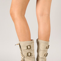 Zipper Round Toe Lace Up Military Boot