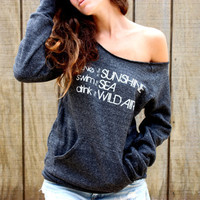 Live - Eco-friendly off the shoulder sweater in Eco-black, Inspirational Ralph Waldo Emerson quote