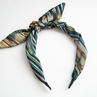 Striped headscarf, headband, hair scarf, hair accessory, bow headband