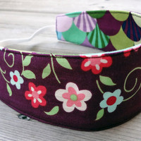 Children reversible headband - M2M Matilda Jane burgundy fan flowers cotton girl stocking stuffer party favor - Bandeau - Ready to ship