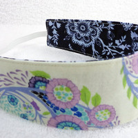 Children reversible headband - M2M Matilda Jane navy lilac cream flowers cotton girl stocking stuffer party favor - Bandeau - Ready to ship