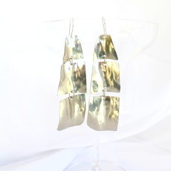 Silver tribal earrings, long dangle earrings, modern metal jewelry, gift under 40