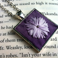 Purple and Lavender Flower Embroidered Pendant Necklace - Silk Ribbon Embroidery by BeanTown Embroidery