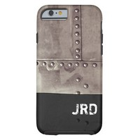 Monogrammed Industrial Metal Image iPhone 6 Case