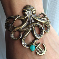 Octopus Bracelet with Anchor charm Bracelet - Antiqued Brass Vintage Style Nautical Victorian Steampunk Large Lightweight Gothic Victorian