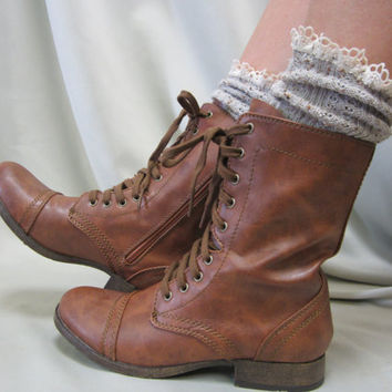 Miss Tori - Over boot  lace tweed Oatmeal combat boot socks by Catherine Cole Studio ruffled lace boot socks MADE IN USA (SLX204L)