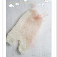 Mohair Knitted baby romper / Baby girl overall / Newborn Photo props