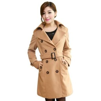 Partiss Womens Slim Fit Double-breasted Overcoat