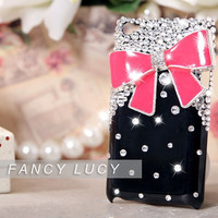 New Bling Crystal diamond Black Case Cover for iPod Touch 4 4th,Bow