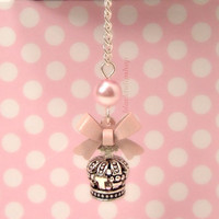 Lolita Cell Phone Charm Dust Plug Earphone Princess Gyaru Pink Bow Crown