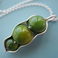 Three Peas in a Pod Necklace by sudlow on Etsy