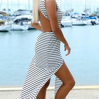 TUSCAN SUN MAXI - black and white striped maxi dress