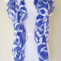 Womens Silky Blue Tribal Ikat Ruffled Scarf
