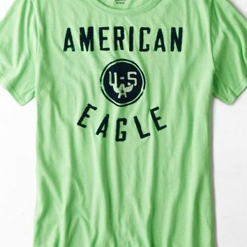 AEO Men's Signature Flocked Graphic T-shirt (Lime)