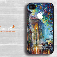 iphone 4 protector verizon  iphone 4s case iphone 4 case iphone 4 cover painting rain and tree car street unique Iphone case design