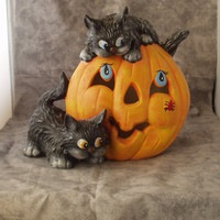 Ceramic Halloween Pumpkin with Cats