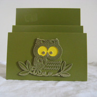 Olive Green Owl Mail/Napkin Holder