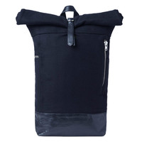 Navy Wool Leather Hybrid Backpack by MKI - Navy Wool Leather Hybrid Backpack by MKI